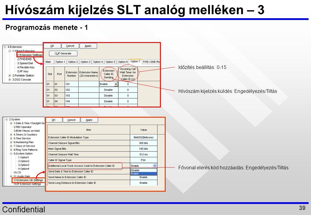 Hívószám kijelzés SLT analóg melléken – 3