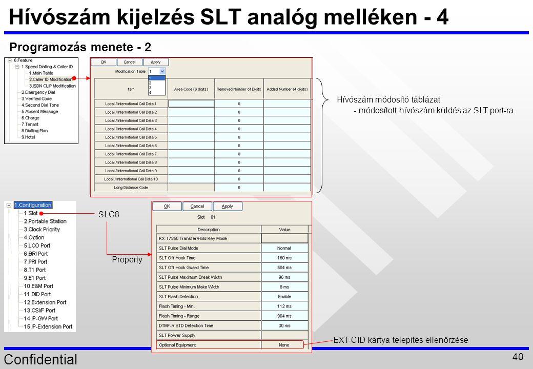 Hívószám kijelzés SLT analóg melléken - 4