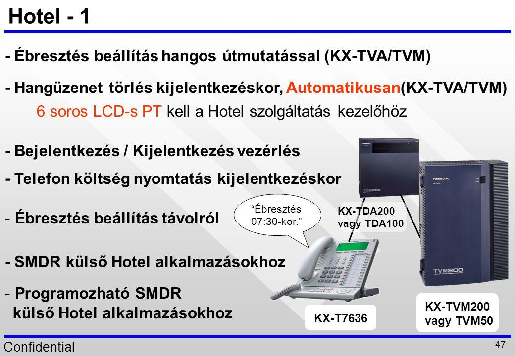 Hotel - 1 - Ébresztés beállítás hangos útmutatással (KX-TVA/TVM)