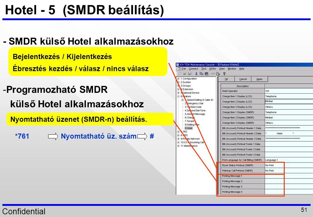 Hotel - 5 (SMDR beállítás)