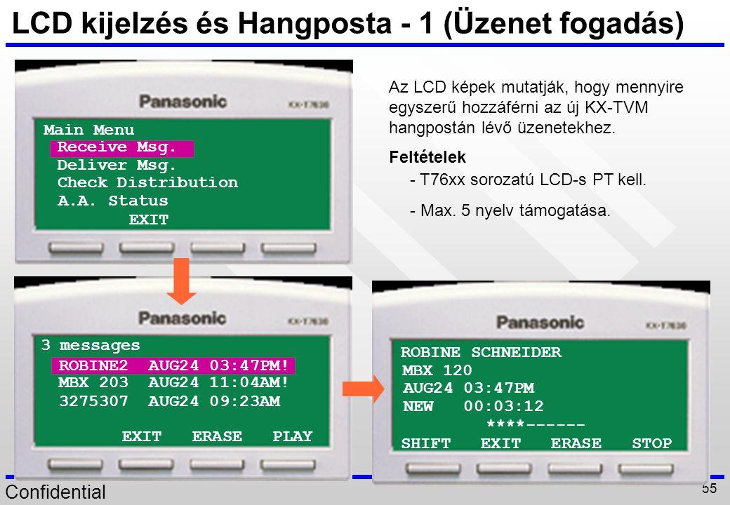 LCD kijelzés és Hangposta - 1 (Üzenet fogadás)