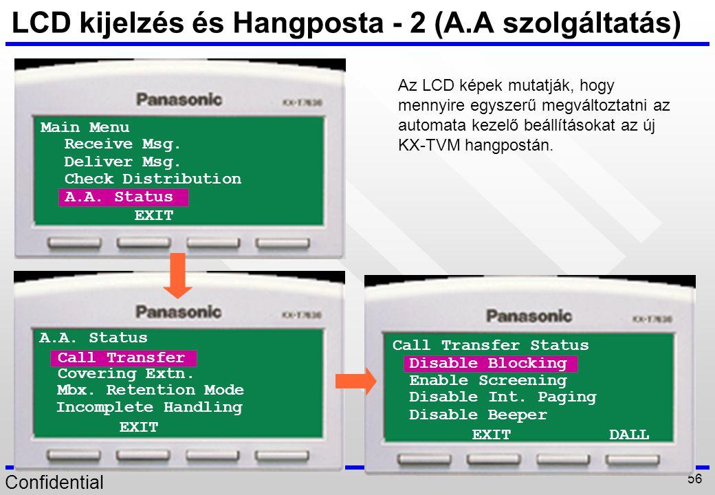 LCD kijelzés és Hangposta - 2 (A.A szolgáltatás)