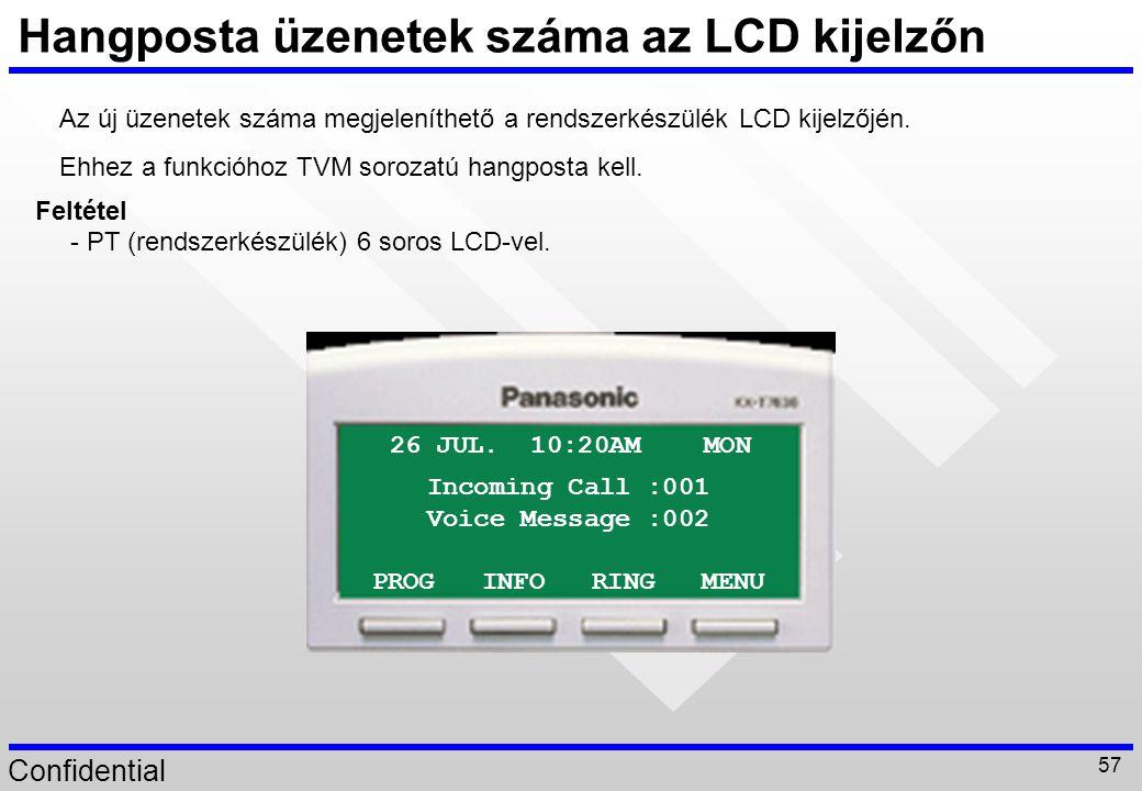 Hangposta üzenetek száma az LCD kijelzőn