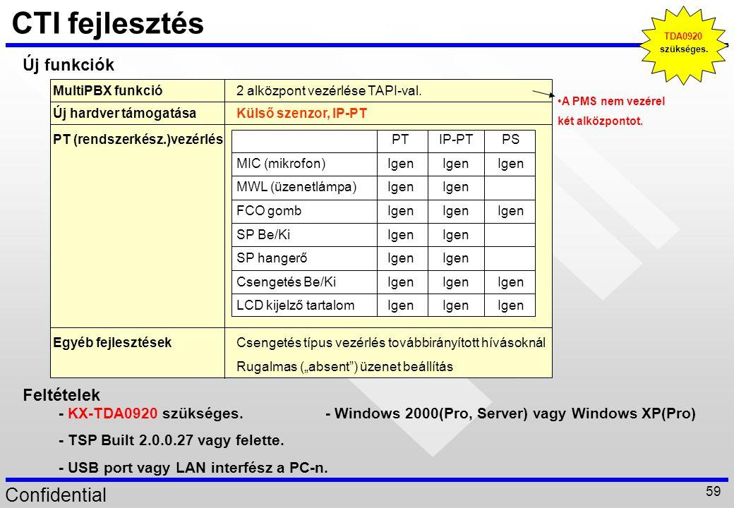 CTI fejlesztés Új funkciók Feltételek - KX-TDA0920 szükséges.