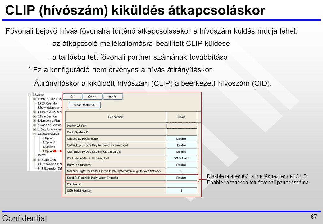 CLIP (hívószám) kiküldés átkapcsoláskor