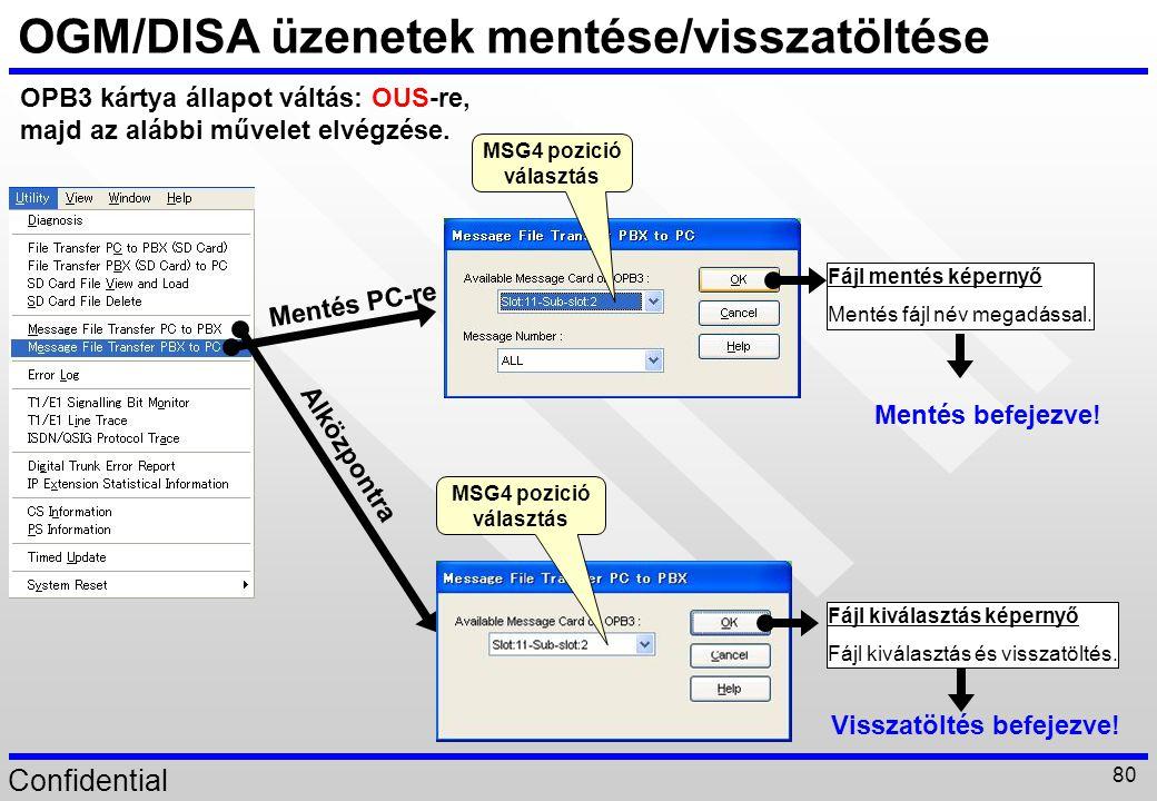 OGM/DISA üzenetek mentése/visszatöltése