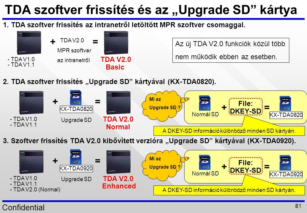 """TDA szoftver frissítés és az """"Upgrade SD kártya"""
