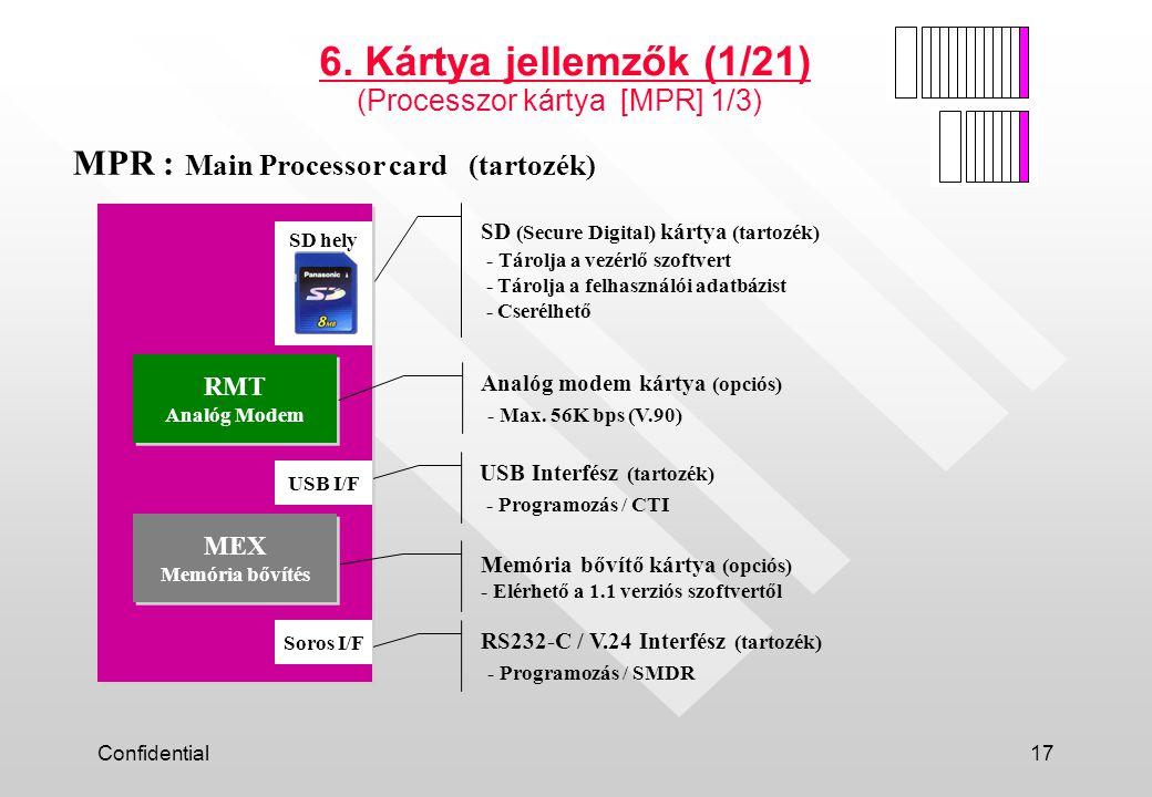 6. Kártya jellemzők (1/21) MPR : Main Processor card (tartozék)