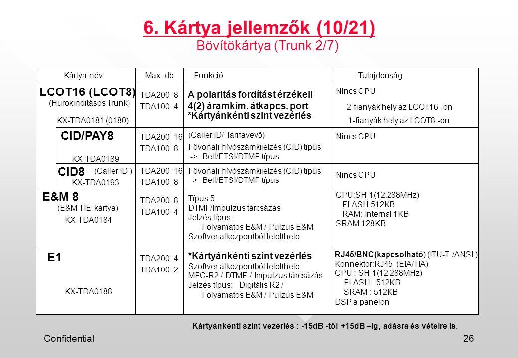 6. Kártya jellemzők (10/21) Bövítökártya (Trunk 2/7) LCOT16 (LCOT8)