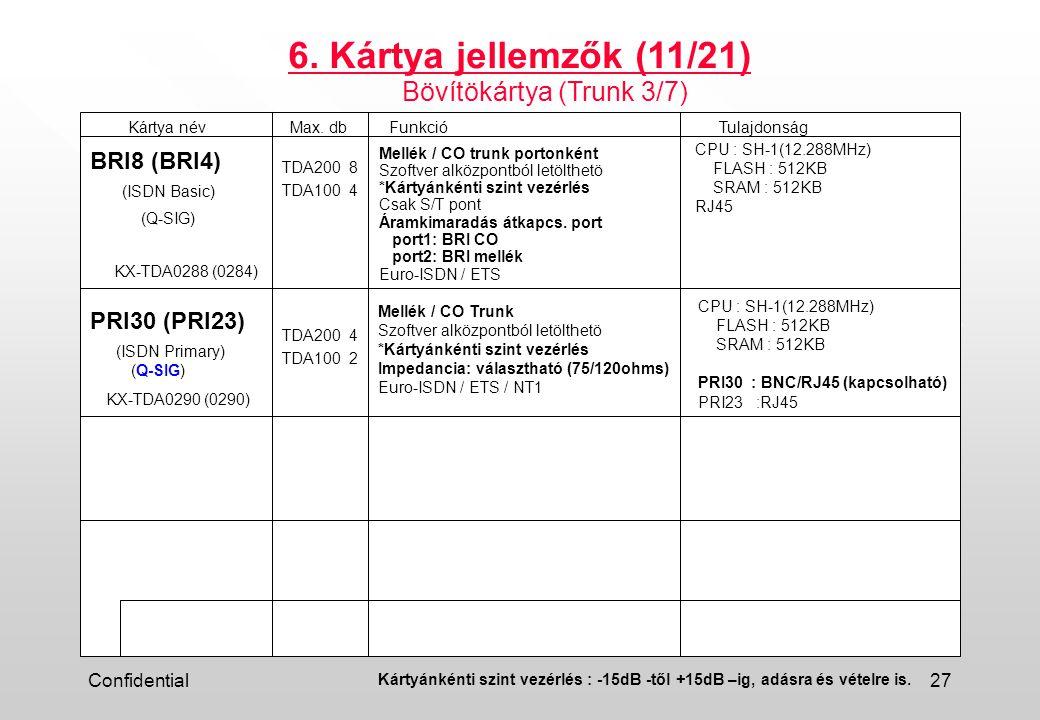 6. Kártya jellemzők (11/21) Bövítökártya (Trunk 3/7) BRI8 (BRI4)