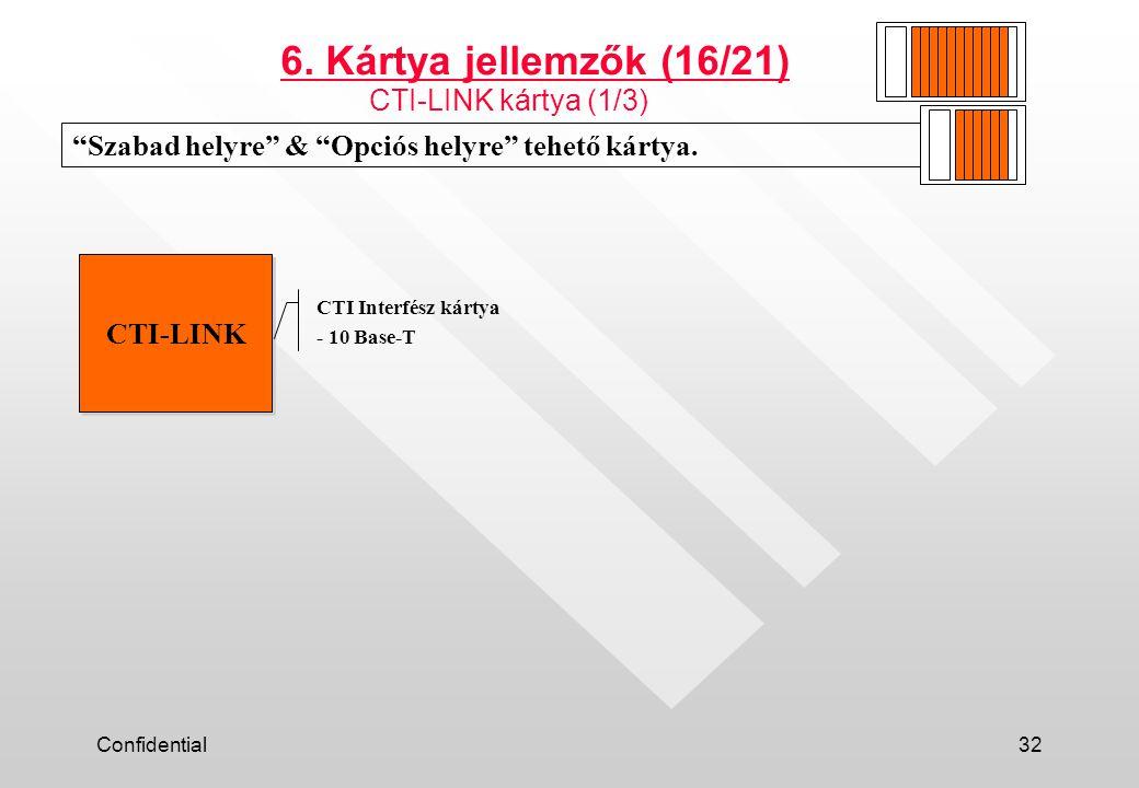 6. Kártya jellemzők (16/21) CTI-LINK kártya (1/3)