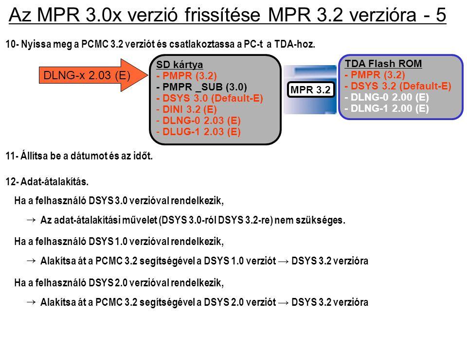 Az MPR 3.0x verzió frissítése MPR 3.2 verzióra - 5