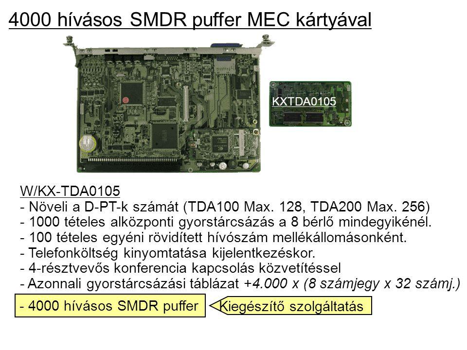 4000 hívásos SMDR puffer MEC kártyával