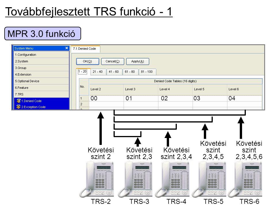 Továbbfejlesztett TRS funkció - 1