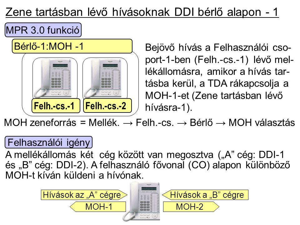 Zene tartásban lévő hívásoknak DDI bérlő alapon - 1
