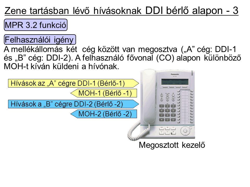 Zene tartásban lévő hívásoknak DDI bérlő alapon - 3
