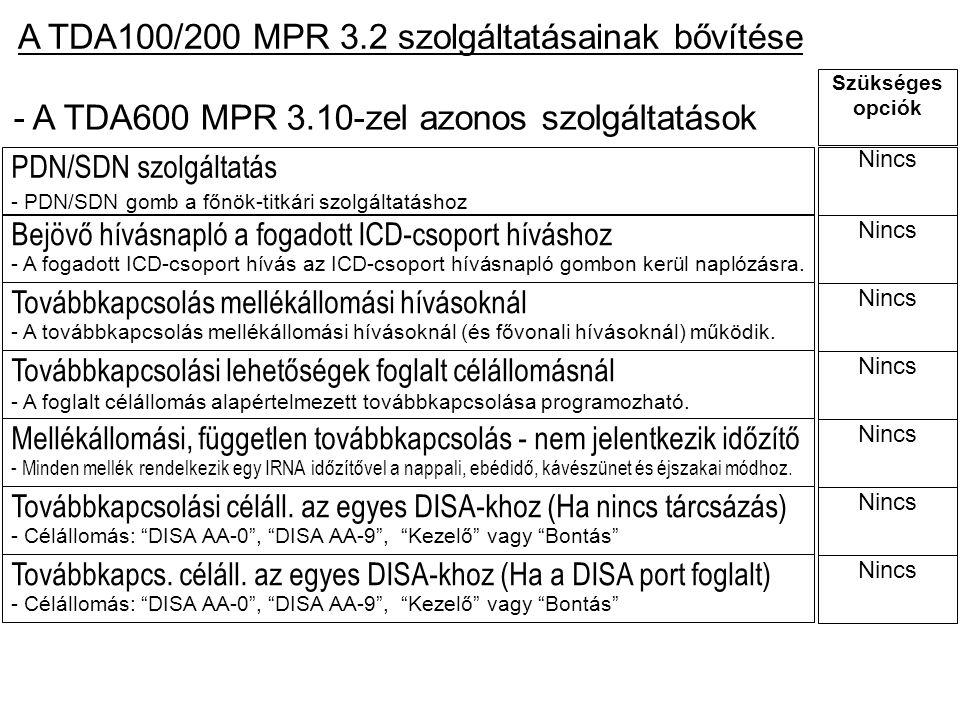 A TDA100/200 MPR 3.2 szolgáltatásainak bővítése