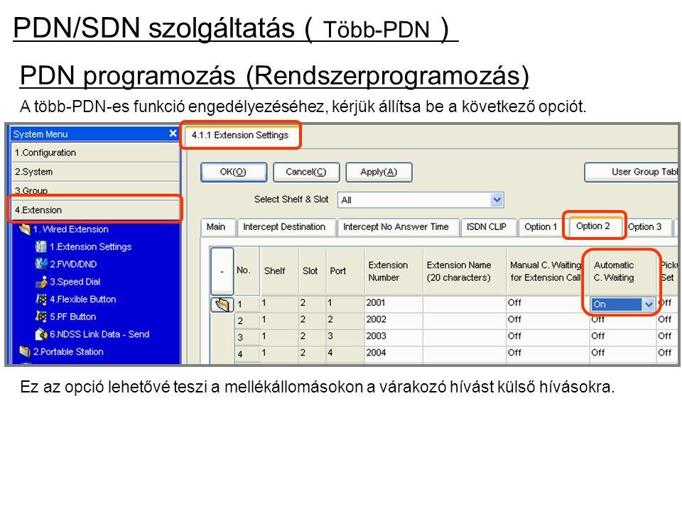 PDN/SDN szolgáltatás(Több-PDN)