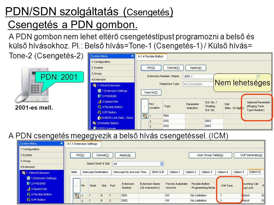 PDN/SDN szolgáltatás (Csengetés)