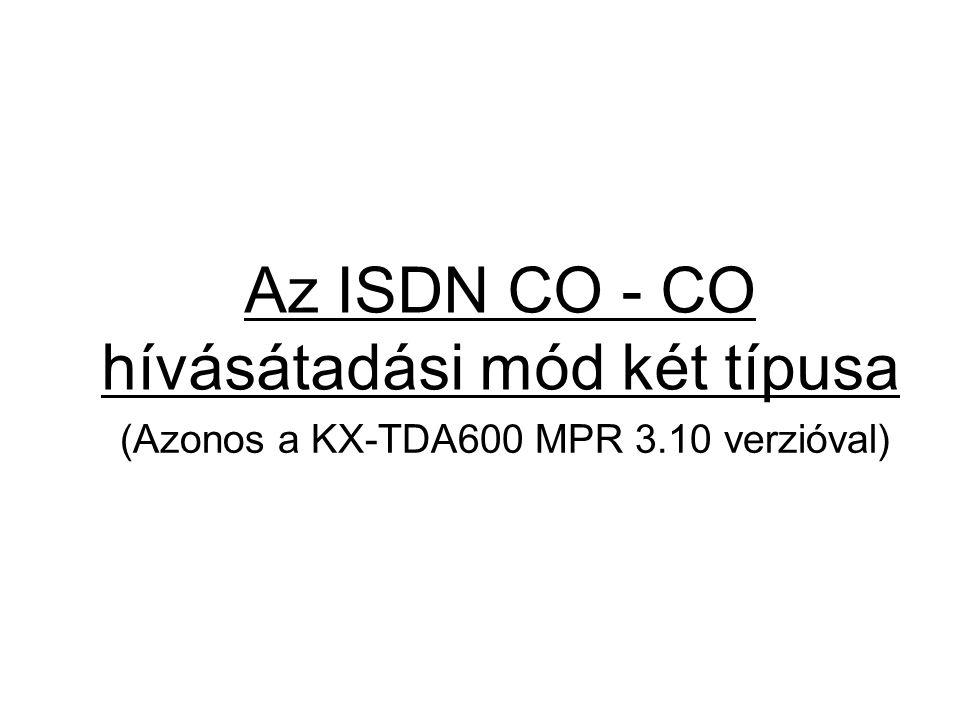 Az ISDN CO - CO hívásátadási mód két típusa