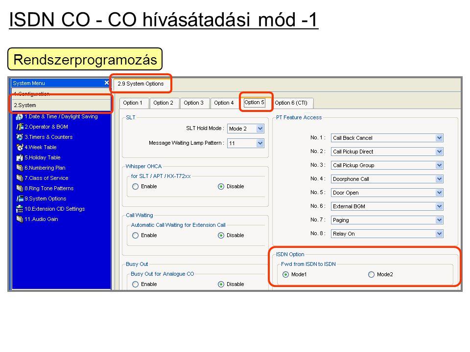 ISDN CO - CO hívásátadási mód -1