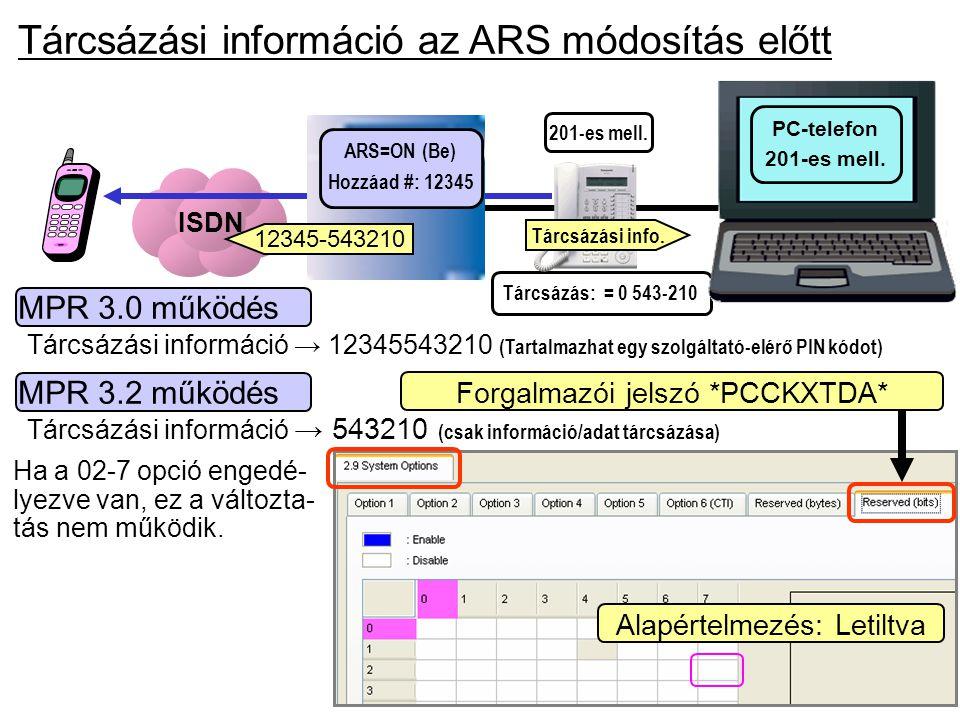Tárcsázási információ az ARS módosítás előtt