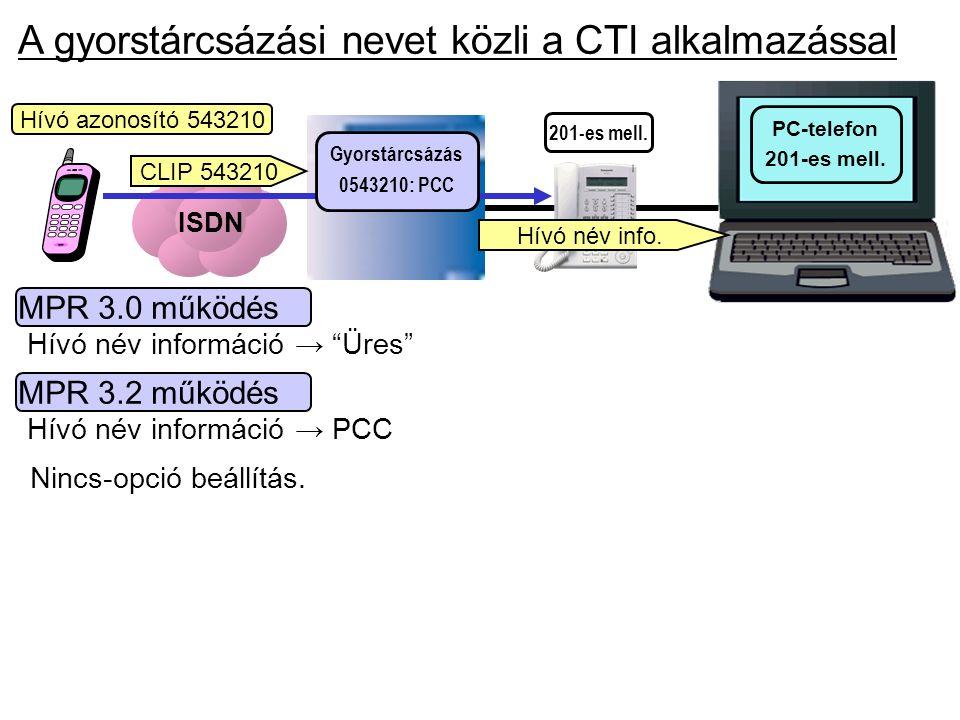 A gyorstárcsázási nevet közli a CTI alkalmazással