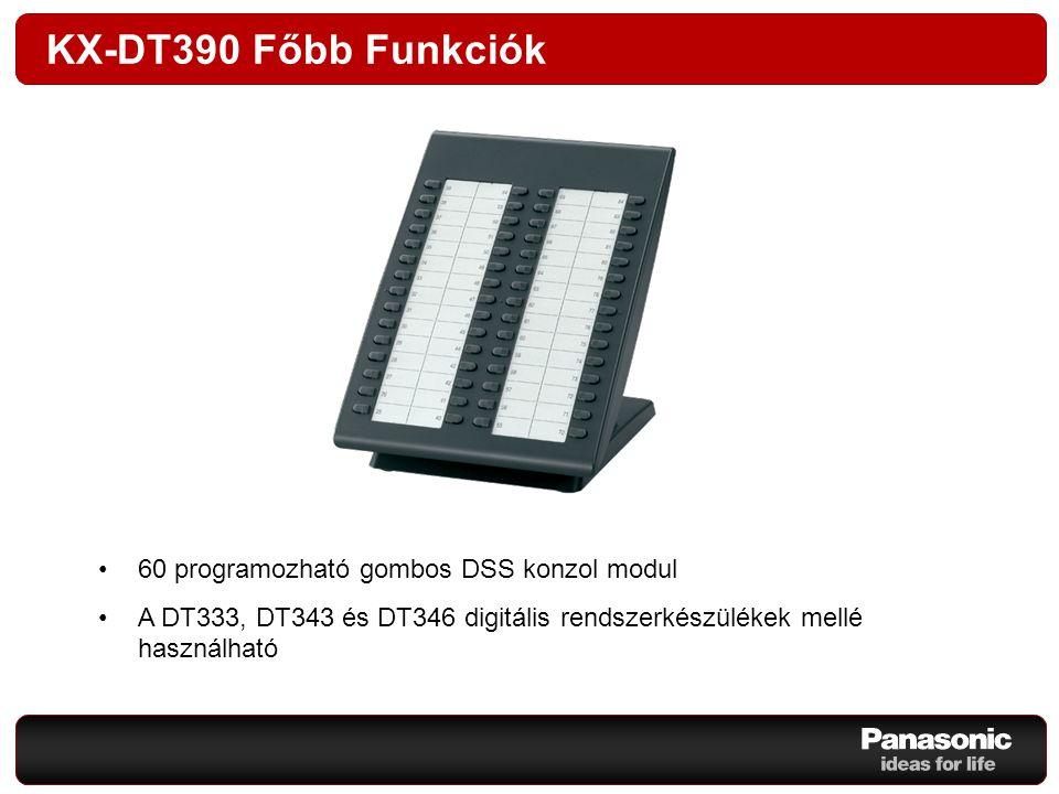 KX-DT390 Főbb Funkciók 60 programozható gombos DSS konzol modul