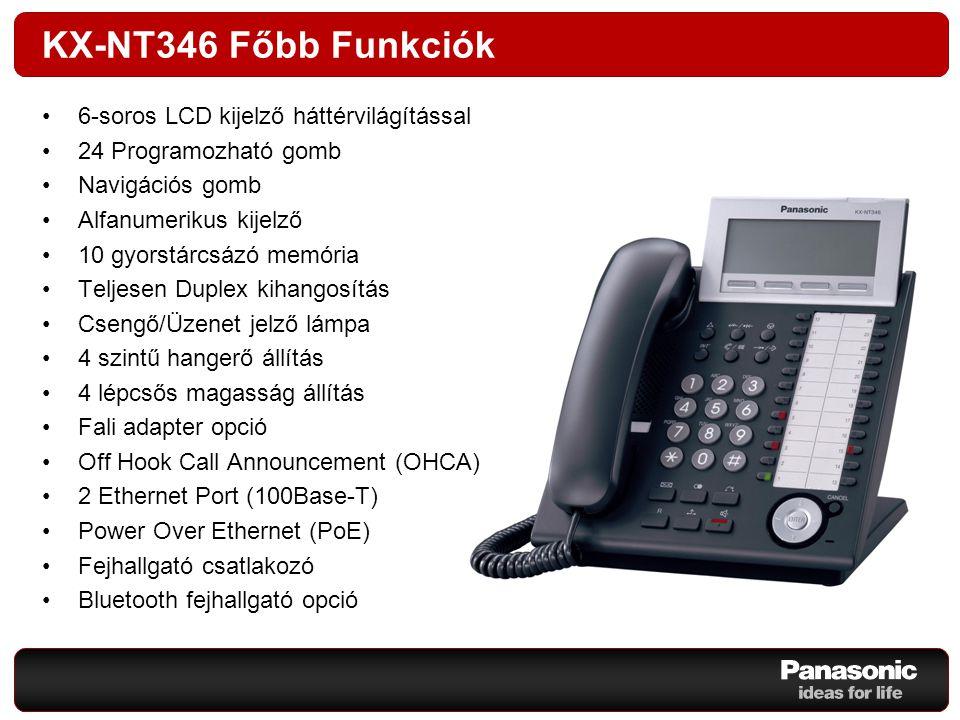 KX-NT346 Főbb Funkciók 6-soros LCD kijelző háttérvilágítással