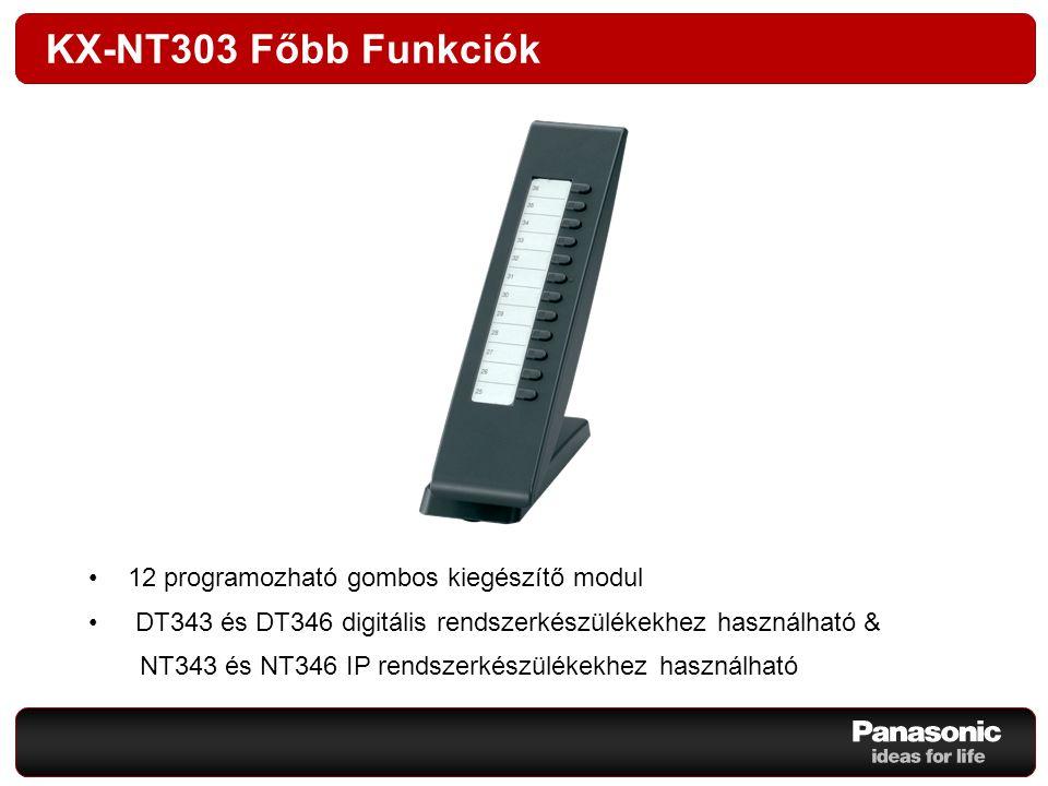 KX-NT303 Főbb Funkciók 12 programozható gombos kiegészítő modul