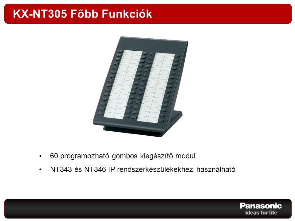 KX-NT305 Főbb Funkciók 60 programozható gombos kiegészítő modul