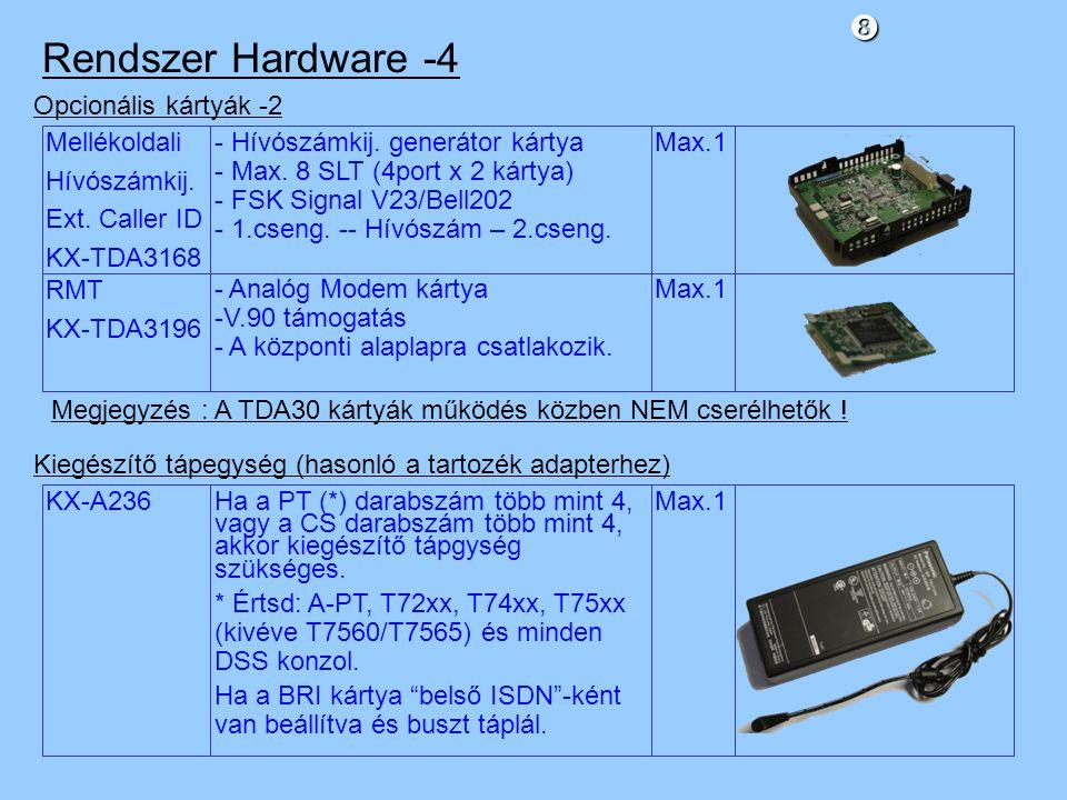 Rendszer Hardware -4 Opcionális kártyák -2 Mellékoldali Hívószámkij.