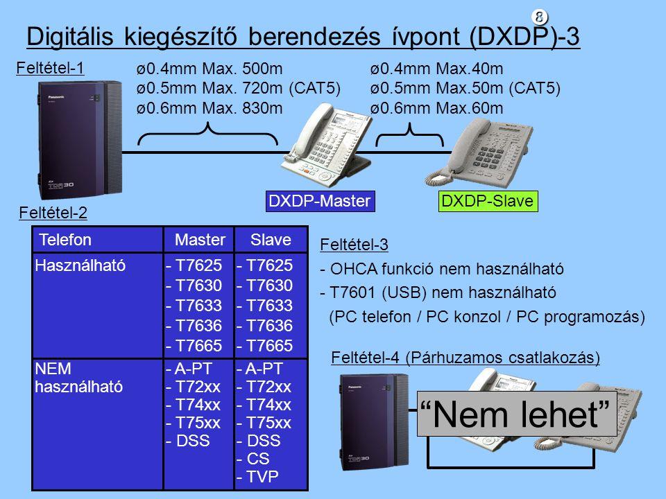 Nem lehet Digitális kiegészítő berendezés ívpont (DXDP)-3