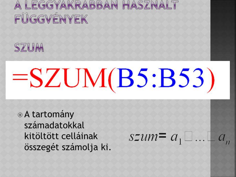 A leggyakrabban használt függvények SZUM