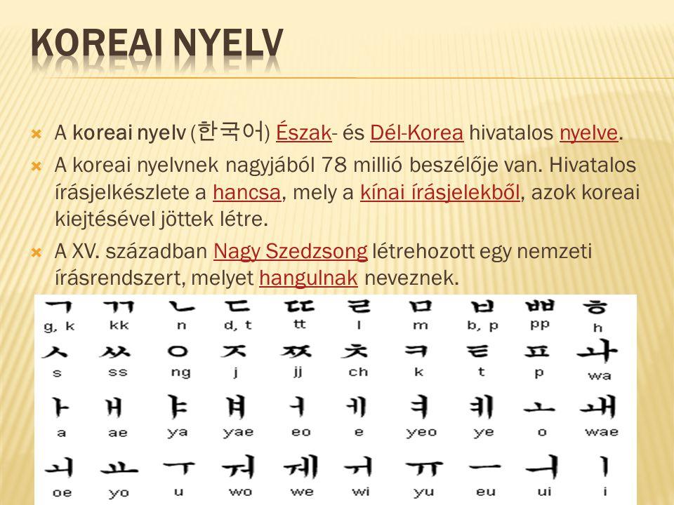Koreai nyelv A koreai nyelv (한국어) Észak- és Dél-Korea hivatalos nyelve.