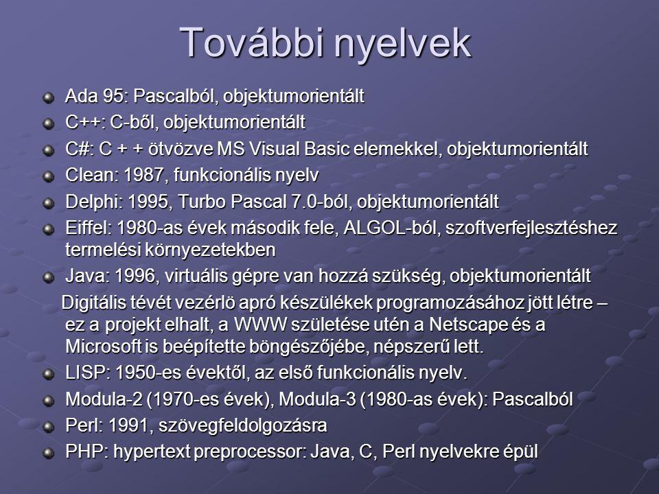 További nyelvek Ada 95: Pascalból, objektumorientált