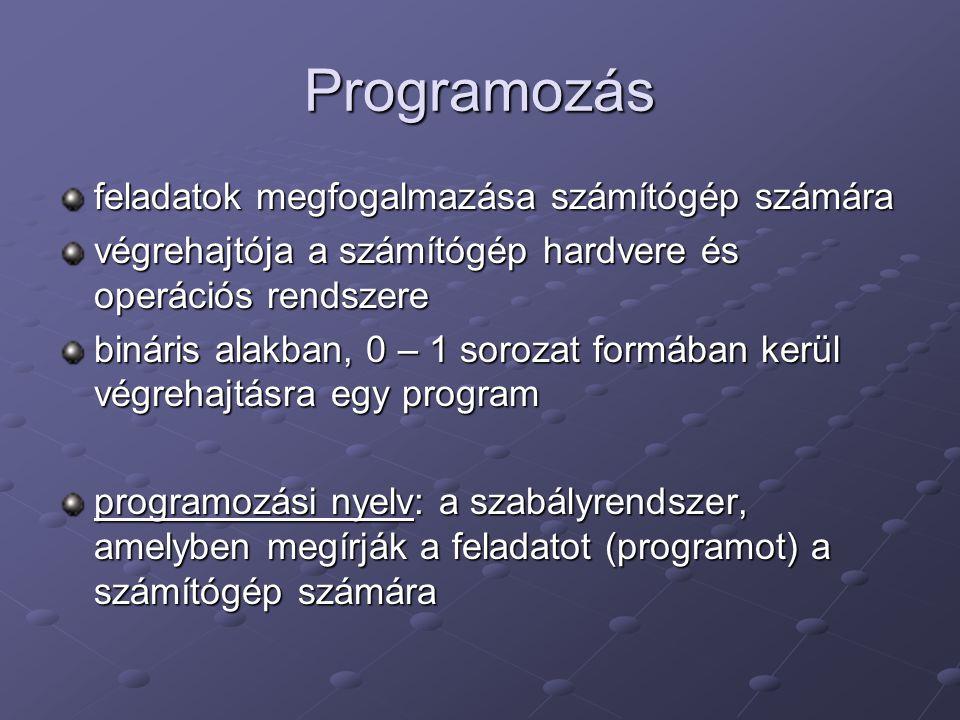 Programozás feladatok megfogalmazása számítógép számára