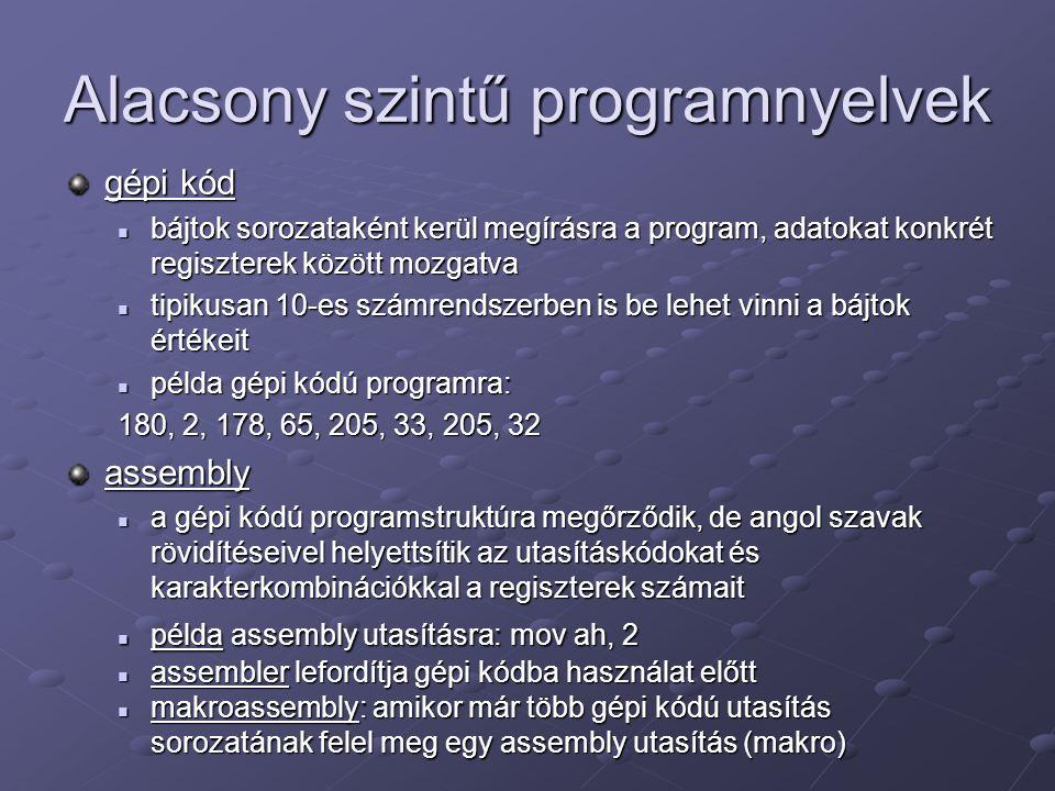 Alacsony szintű programnyelvek