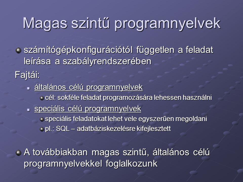 Magas szintű programnyelvek