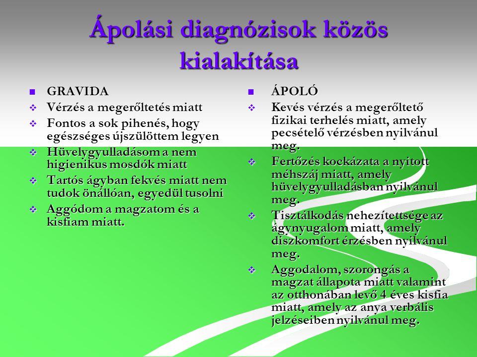 Ápolási diagnózisok közös kialakítása