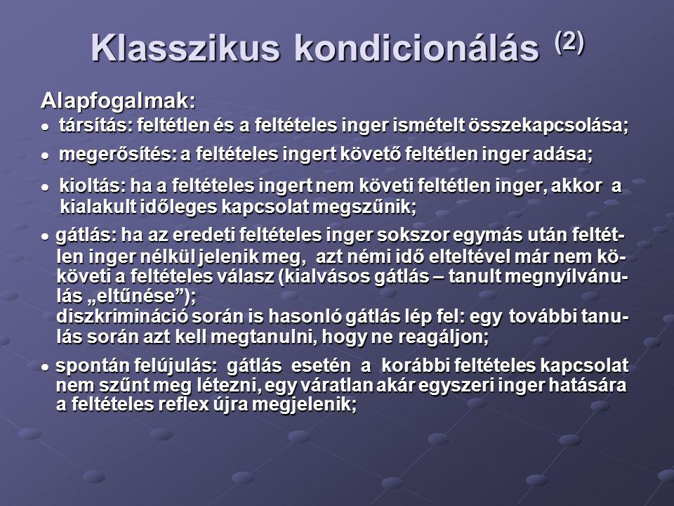 Klasszikus kondicionálás (2)