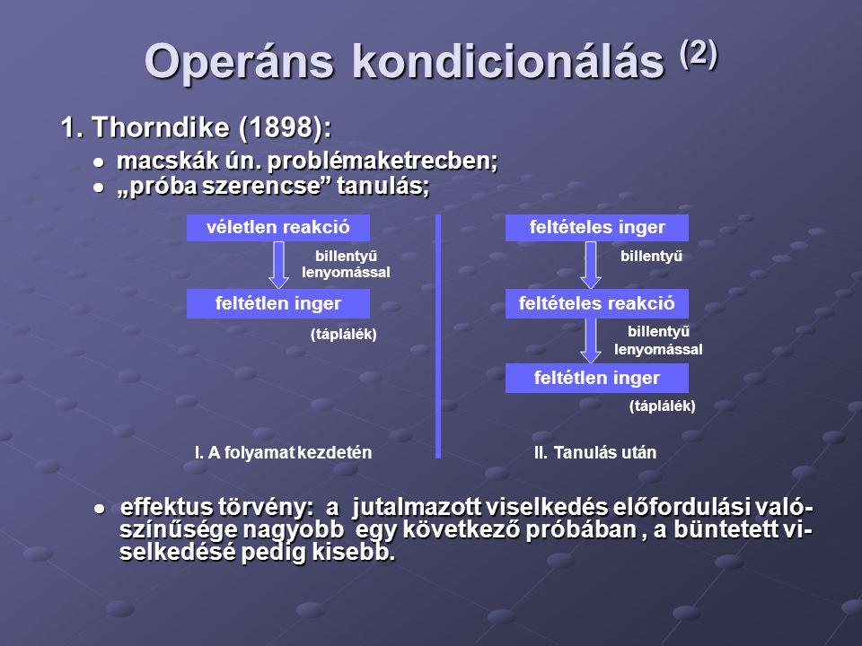 Operáns kondicionálás (2)