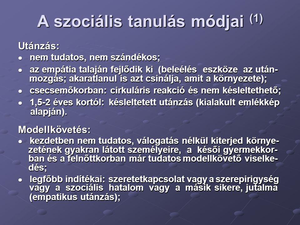 A szociális tanulás módjai (1)