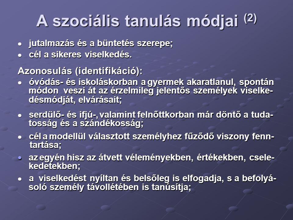 A szociális tanulás módjai (2)