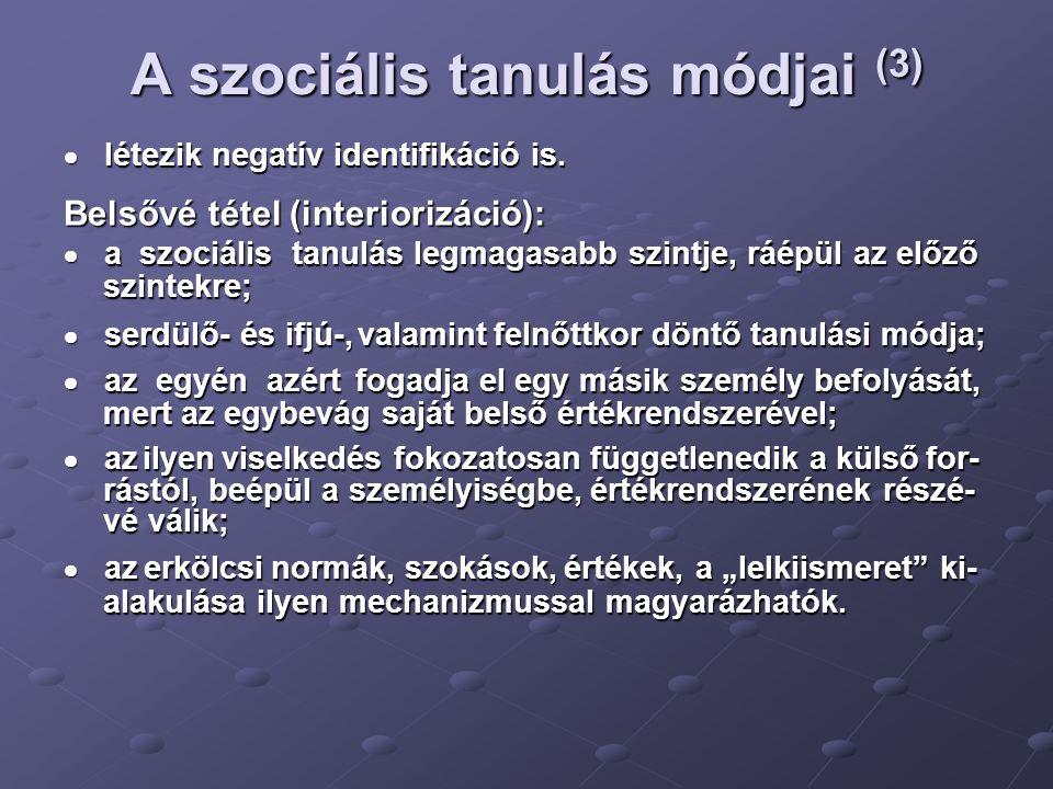 A szociális tanulás módjai (3)