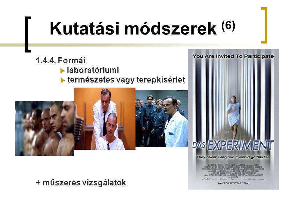 Kutatási módszerek (6) 1.4.4. Formái  laboratóriumi