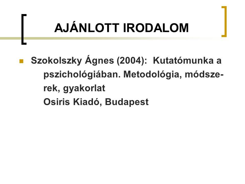 AJÁNLOTT IRODALOM Szokolszky Ágnes (2004): Kutatómunka a