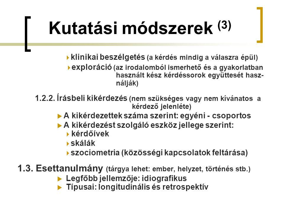 Kutatási módszerek (3)  klinikai beszélgetés (a kérdés mindig a válaszra épül)  exploráció (az irodalomból ismerhető és a gyakorlatban.