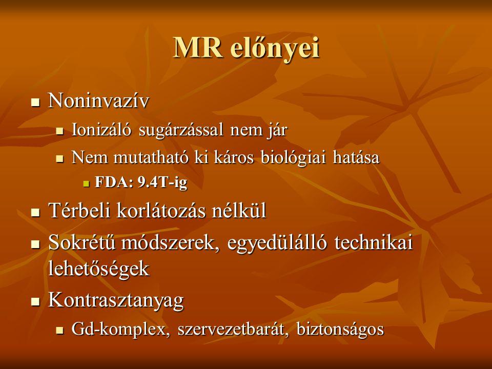 MR előnyei Noninvazív Térbeli korlátozás nélkül