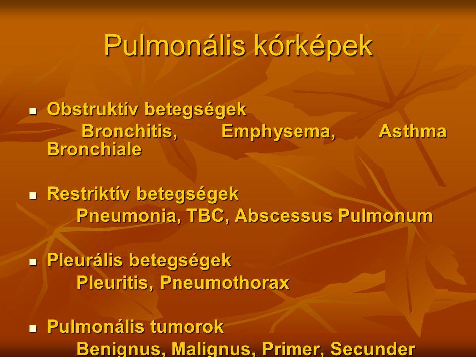 Pulmonális kórképek Obstruktív betegségek